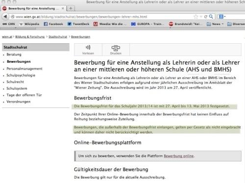 Die Bewerbungswebsite des Stadtschulrats (Screenshot: R.E.)