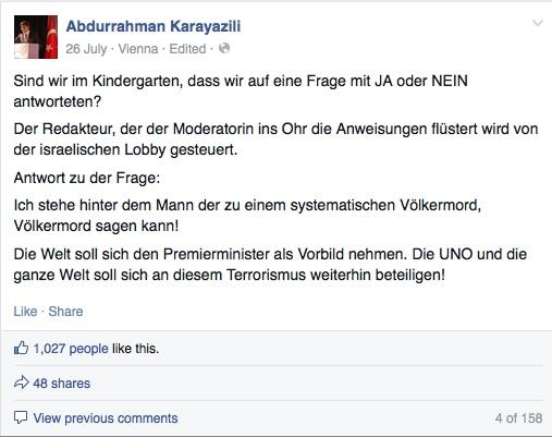Screenshot von Abdurrahman Karayazilis Facebook-Profil (aufgenommen am 21.9.2014)