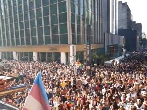 Blick von einem Wagen auf die Menschenmasse bei der Parade von São Paulo